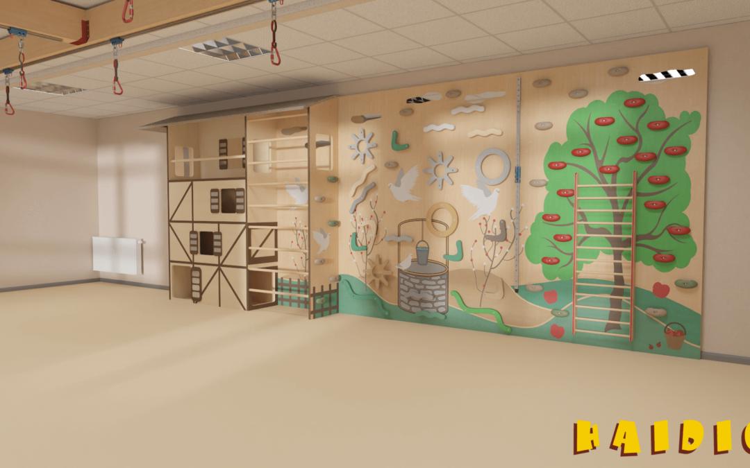 Individuelle und fantasievolle Kindergartenkletterwand